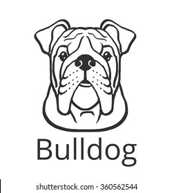 Bulldog black vector icon logo illustration