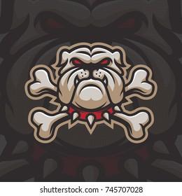 Bulldog with bones mascot logo design. Sport logotype illustration. Eps10 vector.