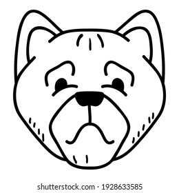 Bulldog is a breed of dog.Outline dog face icon.Isolated illustration.Doodle sketch style vector.