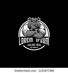 bulldog cartoon martial arts athletes with kimono round emblem logo vector template