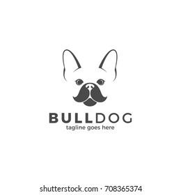 Bulldog. Cute dog on white background. Logo. Cute animal