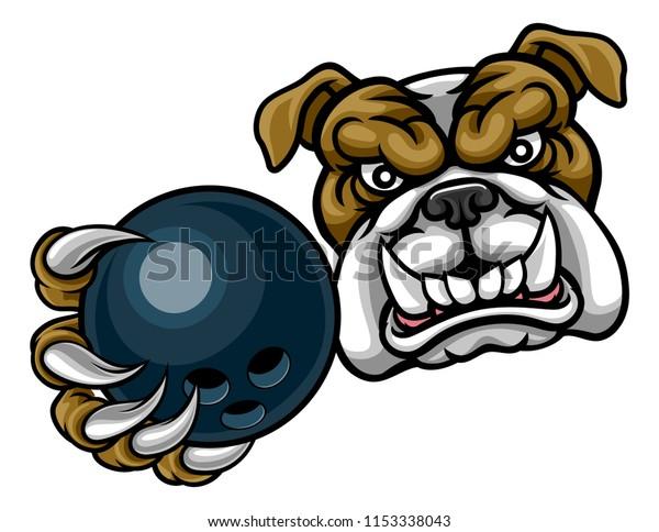 A bulldog dog angry animal sports mascot holding a ten pin bowling ball