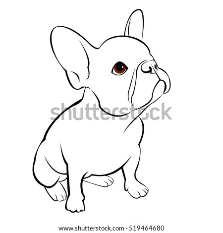 b4ab6e45 Bulldog Dog Animal French Vector Illustration Wektor stockowy ...