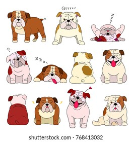 bulldog elements set with outlines