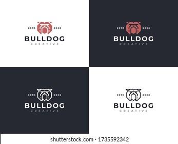 bulldog emblem, bulldog angry, bulldog logo stock ilustration