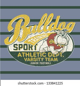 Bulldog football team - Artwork for children wear in custom colors - Grunge effect in separate layer
