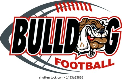 bulldog football team design with mascot head and ball for school, college or league