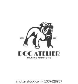 Bulldog in glasses and tie logo design template. Vector illustration.