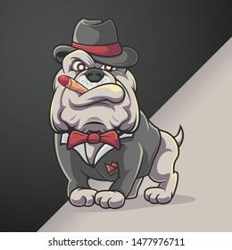 Bulldog Hat Mascot Gangster Banker