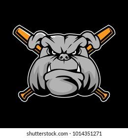 Bulldog head with baseball bat vector logo template