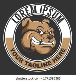 Bulldog head cartoon character vector logo