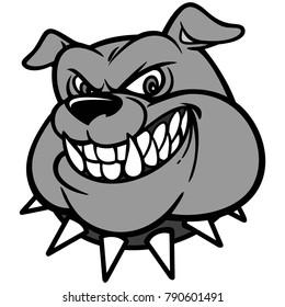Bulldog Head Illustration - A vector cartoon illustration of a Classic Bulldog Head.