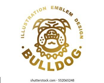 Bulldog head logo - vector illustration, golden emblem design on white background