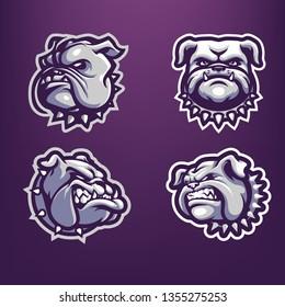 Bulldog Head Mascot Logo Bundle for Sport and Esport isolated on dark background