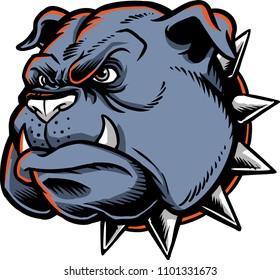 Bulldog head vector showing an angry face.