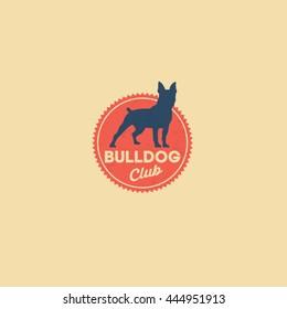 Bulldog logo. Kennel club. Dog club. Retro. Dog on the red badge.