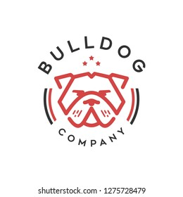 Bulldog logo template design in outline style. Vector illustration - red bulldog