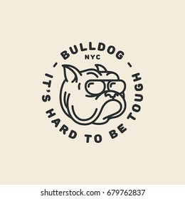 Bulldog logo template design in outline style. Vector illustration.