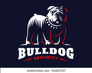 Bulldog logo - vector illustration, emblem design on dark background