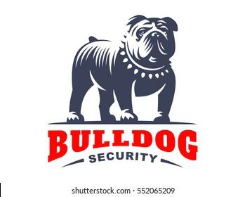 Bulldog logo - vector illustration, emblem design on white background