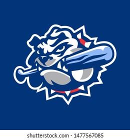 Bulldog Mascot for Baseball or Softball team logo in Vector Illustration
