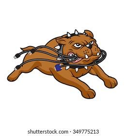Bulldog mascot biting cables