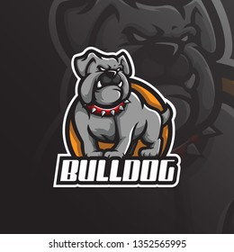 bulldog mascot logo design vector with modern illustration concept style for badge, emblem and tshirt printing. angry dog illustration for sport team.