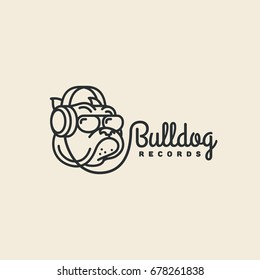 Bulldog records logo template design. Vector illustration.
