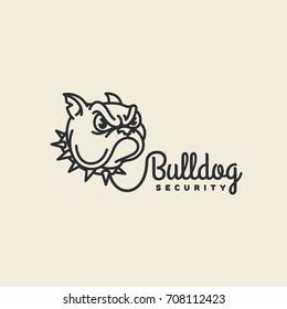 Bulldog security logo template design in outline style. Vector illustration.
