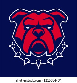 Bulldog in spiked collar vector mascot. Frontal symmetric image of red bulldog looking dangerous. Vector icon.