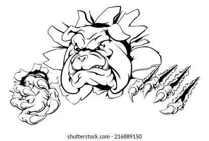A bulldog sports mascot or character breaking out of the background or wall