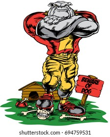 Bulldog standing in football gear,  foot on a skull. Dog house and Beware of Dog sign in background.Reminiscent of traditional school mascots but with a new look and attitude. Suitable for all sports.
