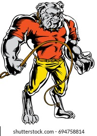 Bulldog standing strong and tough with a whip in hand. Reminiscent of traditional school mascots but with a new look and attitude. Suitable for all sports.