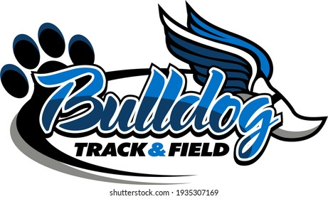 bulldog track and field team design with winged foot for school, college or league