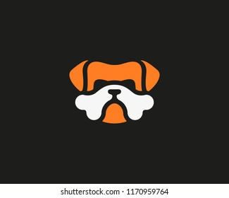 Bulldog vector logo design. Dog pet food  bones idea logotype.