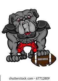 A bulldog wearing a football uniform.
