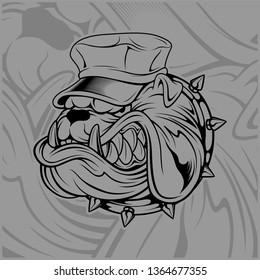 bulldog wearing hat.hand drawing,Shirt designs, biker, disk jockey, gentleman, barber and many others.isolated and easy to edit. Vector Illustration - Vector