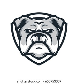 Bulldog wild animal head mascot logo illustration vector
