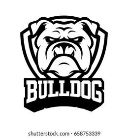 Bulldog wild animal head mascot logo illustration vector
