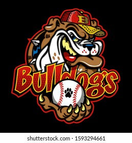 bulldogs baseball team design with mascot holding ball in paw for school, college or league