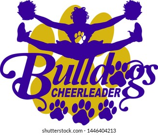 bulldogs cheerleader team design with cheerleader and paw prints for school, college or league