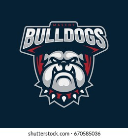 """Bulldogs"" mascot logo design. Sport team badge illustration. Eps10 vector."