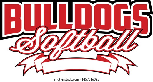 Bulldogs Softball Design With Banner is a team design template that includes text and a blank banner with space for your own information. Great for advertising and promotion for teams or schools