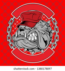bulldogs wear caps and chains hand drawing vector