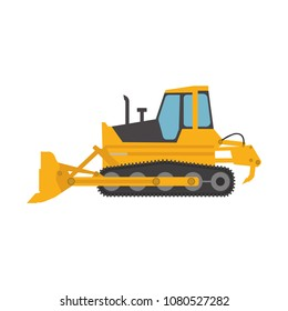 Bulldozer construction equipment. Tractor vehicle industry heavy machinery vector illustration work yellow machine. Excavator scoop loader shovel hydraulic excavation isolated digger mover.