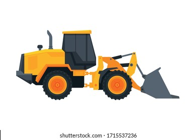 Bulldozer Construction Machinery, Heavy Special Transport, Service Vehicle, Side View Flat Vector Illustration