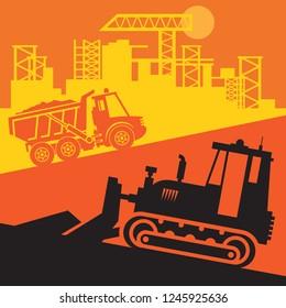 Bulldozer, Construction power machinery, Large bulldozer abstract sign or symbol, vector illustration