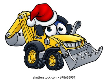 Bulldozer digger construction vehicle cartoon character mascot wearing a Christmas Santa hat