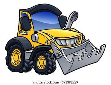 Bulldozer digger construction vehicle cartoon illustration
