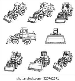 Bulldozer. Eight 3D projection vector. Linear drawing on a white background. Set of eight blueprints.